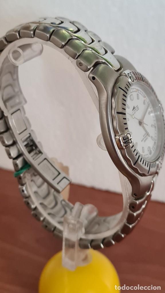 Relojes - Lotus: Reloj caballero cuarzo LOTUS acero. esfera blanca, corona rosca, correa acero original, bisel girato - Foto 10 - 244787615