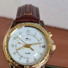 Relojes - Lotus: RELOJ SEÑORA LOTUS CUARZO CHAPADO ORO, ALARMA, ESFERA BLANCA, CALENDARIO LAS TRES, CORREA ORIGINAL.. Lote 244794660