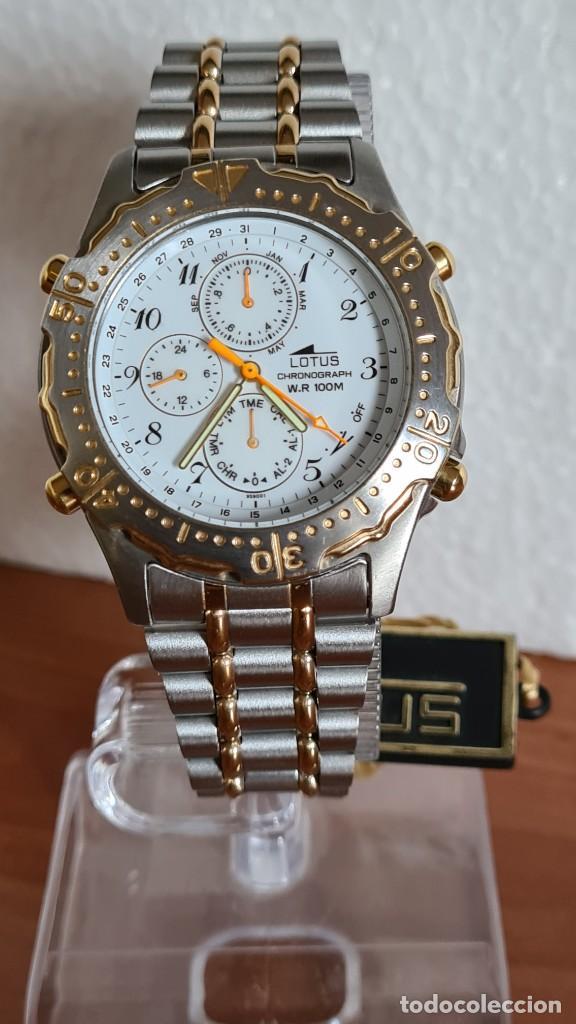 RELOJ CABALLERO LOTUS CUARZO CRONO, CALENDARIO, VARIAS ALARMAS, FECHA, CORREA ACERO ORIGINAL LOTUS (Relojes - Relojes Actuales - Lotus)