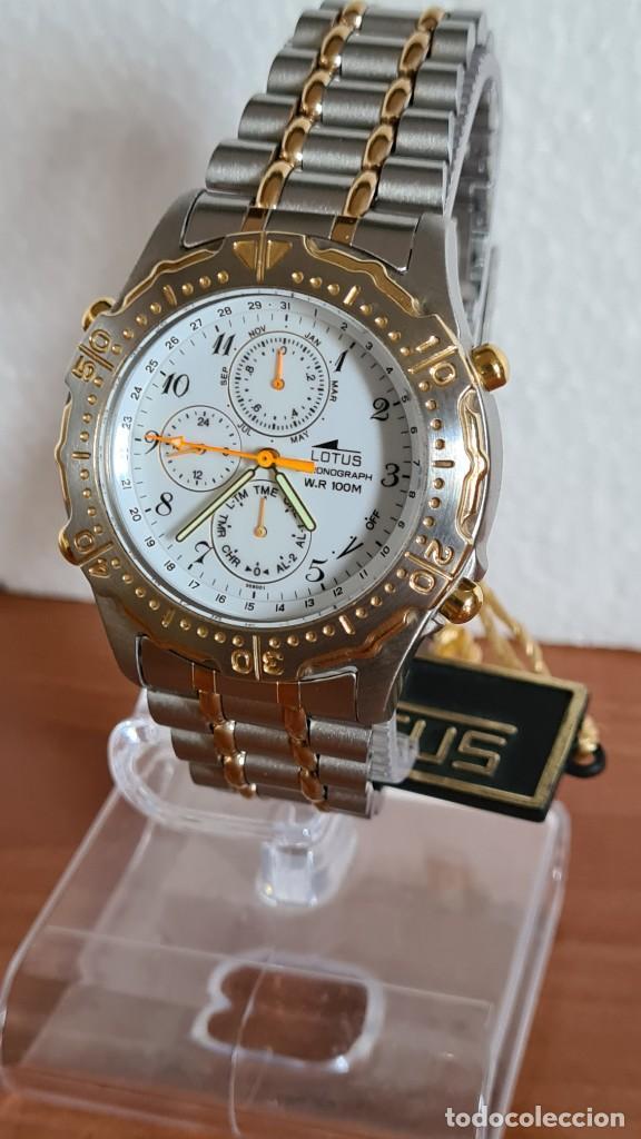 Relojes - Lotus: Reloj caballero LOTUS cuarzo crono, calendario, varias alarmas, fecha, correa acero original LOTUS - Foto 3 - 244797720