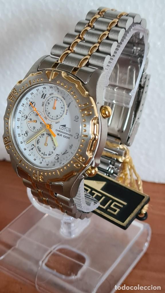 Relojes - Lotus: Reloj caballero LOTUS cuarzo crono, calendario, varias alarmas, fecha, correa acero original LOTUS - Foto 5 - 244797720