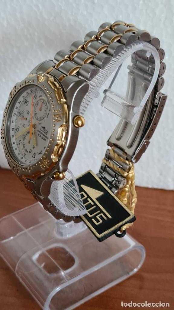 Relojes - Lotus: Reloj caballero LOTUS cuarzo crono, calendario, varias alarmas, fecha, correa acero original LOTUS - Foto 7 - 244797720