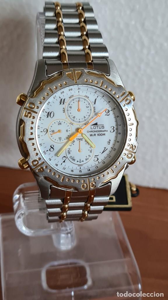 Relojes - Lotus: Reloj caballero LOTUS cuarzo crono, calendario, varias alarmas, fecha, correa acero original LOTUS - Foto 10 - 244797720