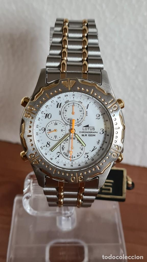 Relojes - Lotus: Reloj caballero LOTUS cuarzo crono, calendario, varias alarmas, fecha, correa acero original LOTUS - Foto 15 - 244797720