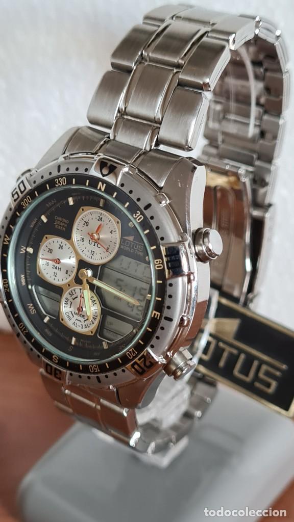 Relojes - Lotus: Reloj caballero LOTUS cuarzo crono, calendario, varias alarmas, fecha, correa acero original LOTUS - Foto 2 - 244800915