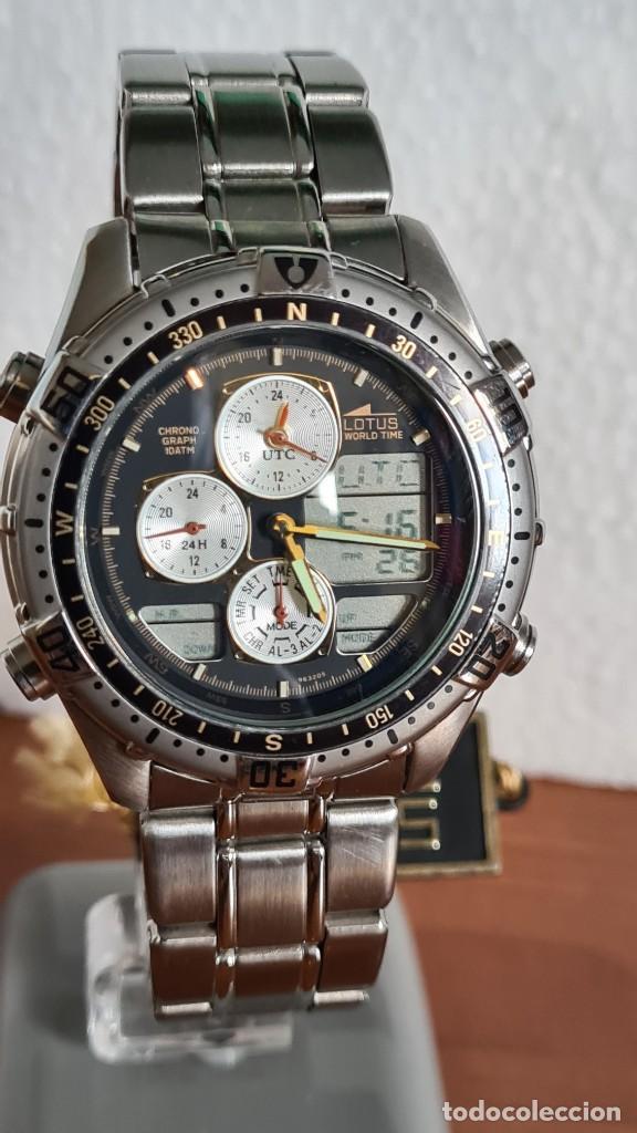 Relojes - Lotus: Reloj caballero LOTUS cuarzo crono, calendario, varias alarmas, fecha, correa acero original LOTUS - Foto 3 - 244800915