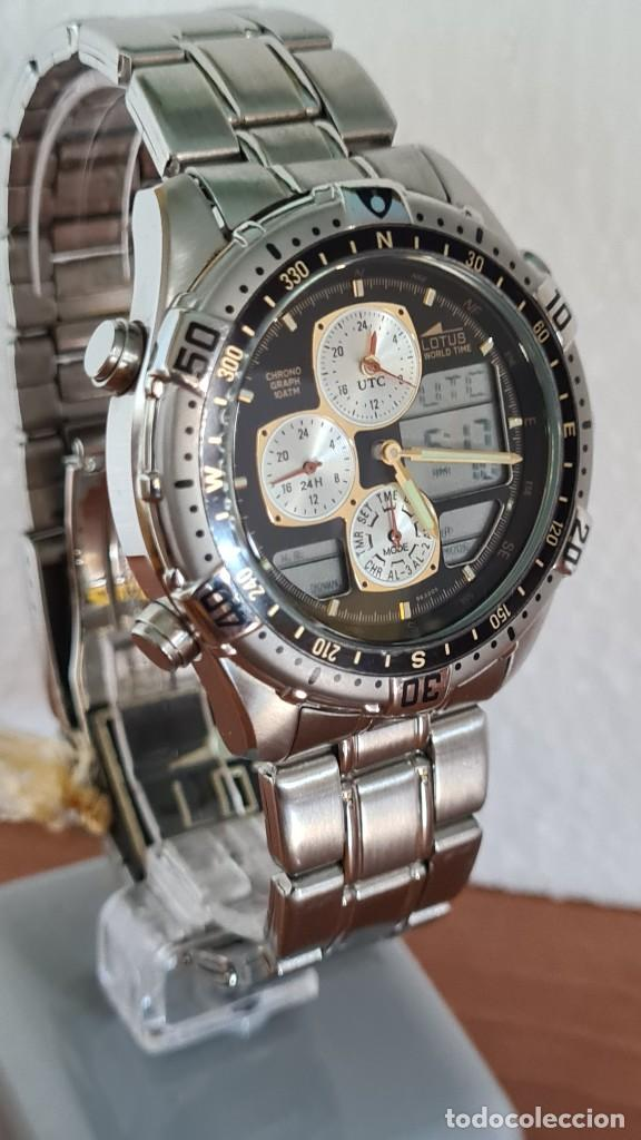 Relojes - Lotus: Reloj caballero LOTUS cuarzo crono, calendario, varias alarmas, fecha, correa acero original LOTUS - Foto 5 - 244800915