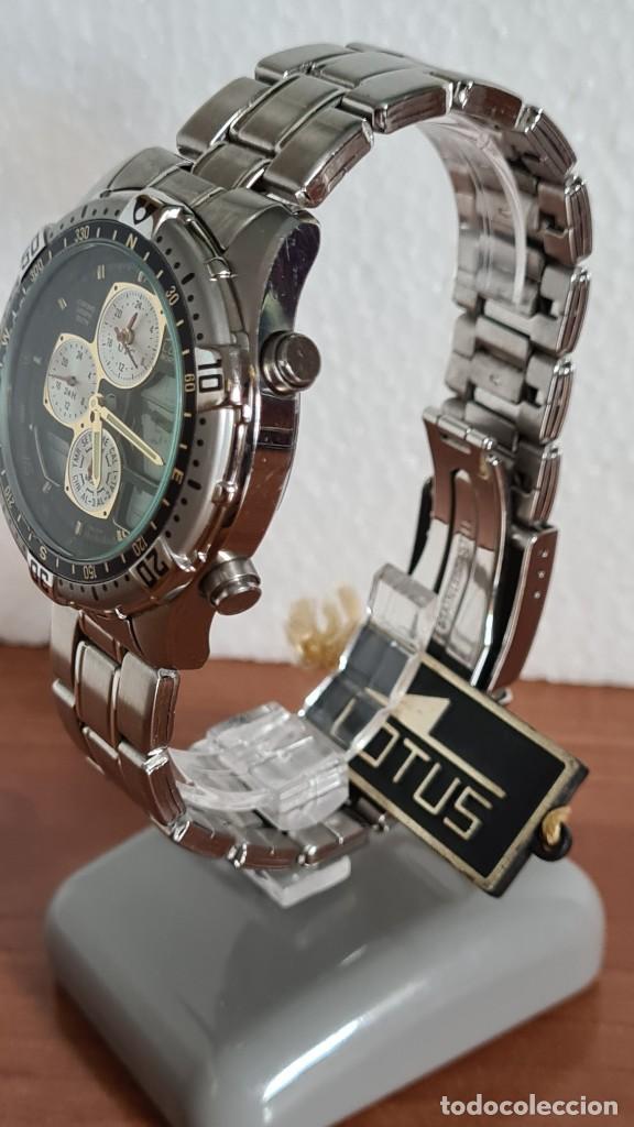 Relojes - Lotus: Reloj caballero LOTUS cuarzo crono, calendario, varias alarmas, fecha, correa acero original LOTUS - Foto 6 - 244800915
