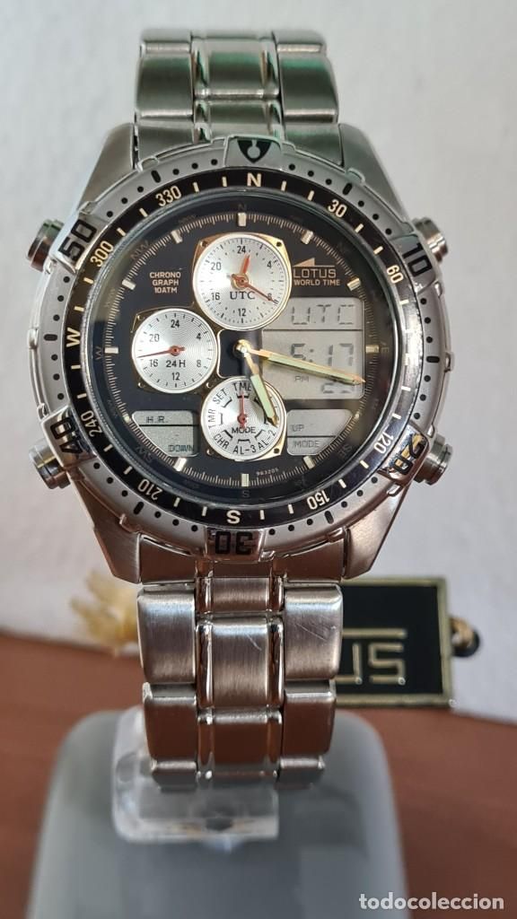 Relojes - Lotus: Reloj caballero LOTUS cuarzo crono, calendario, varias alarmas, fecha, correa acero original LOTUS - Foto 10 - 244800915
