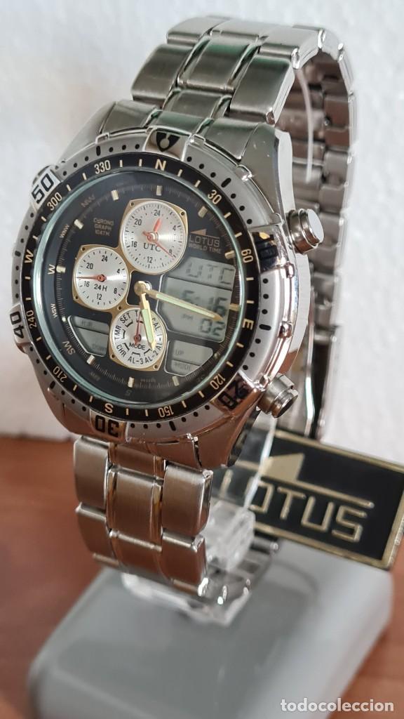 Relojes - Lotus: Reloj caballero LOTUS cuarzo crono, calendario, varias alarmas, fecha, correa acero original LOTUS - Foto 11 - 244800915