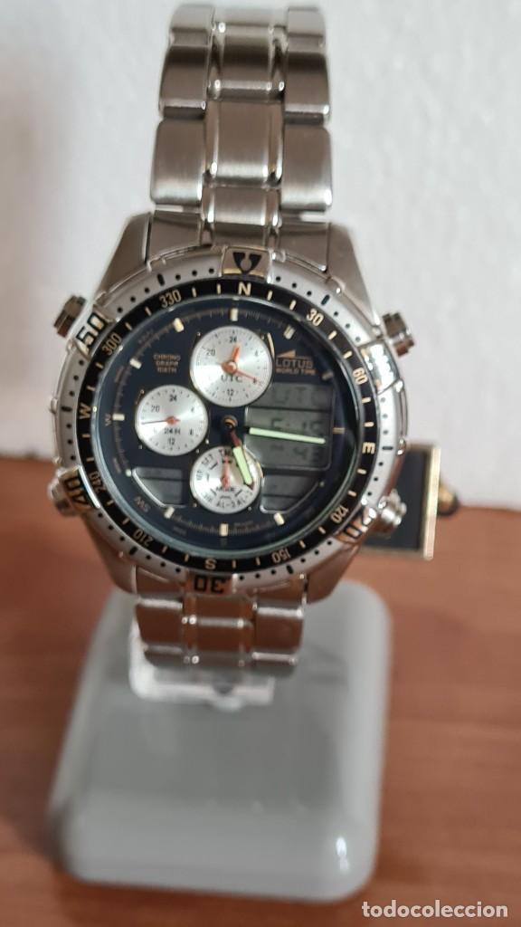 Relojes - Lotus: Reloj caballero LOTUS cuarzo crono, calendario, varias alarmas, fecha, correa acero original LOTUS - Foto 14 - 244800915