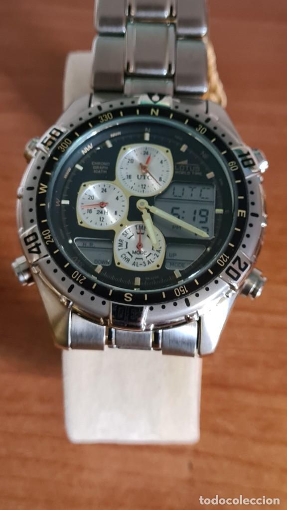 Relojes - Lotus: Reloj caballero LOTUS cuarzo crono, calendario, varias alarmas, fecha, correa acero original LOTUS - Foto 17 - 244800915