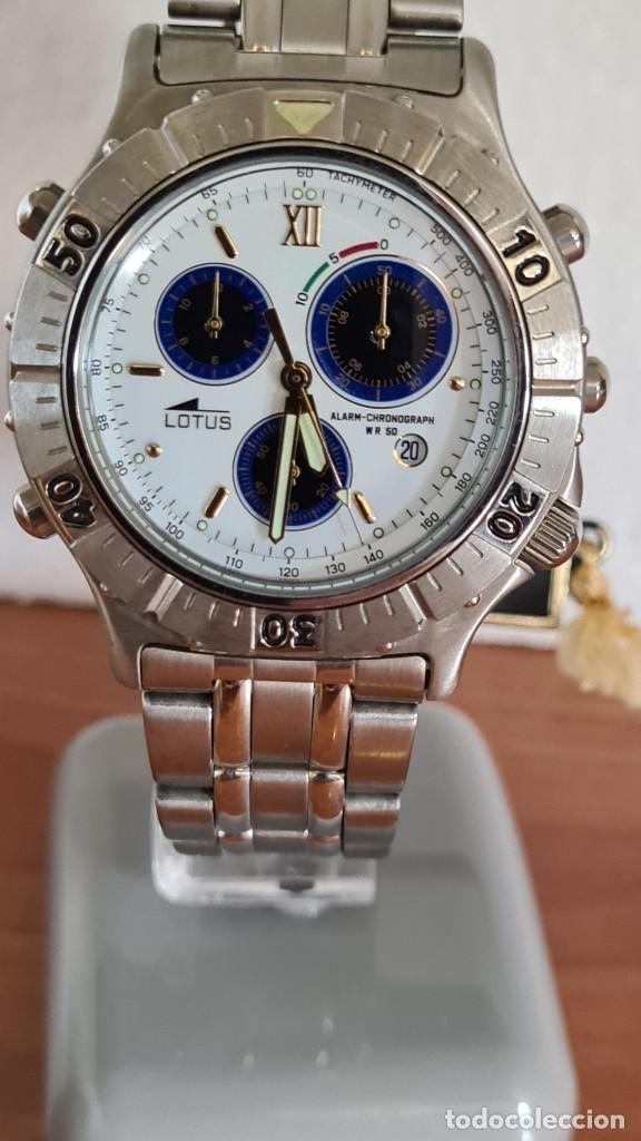RELOJ CABALLERO LOTUS CUARZO CRONO, CALENDARIO, ALARMA, FECHA LA CUATRO, CORREA ACERO ORIGINAL LOTUS (Relojes - Relojes Actuales - Lotus)