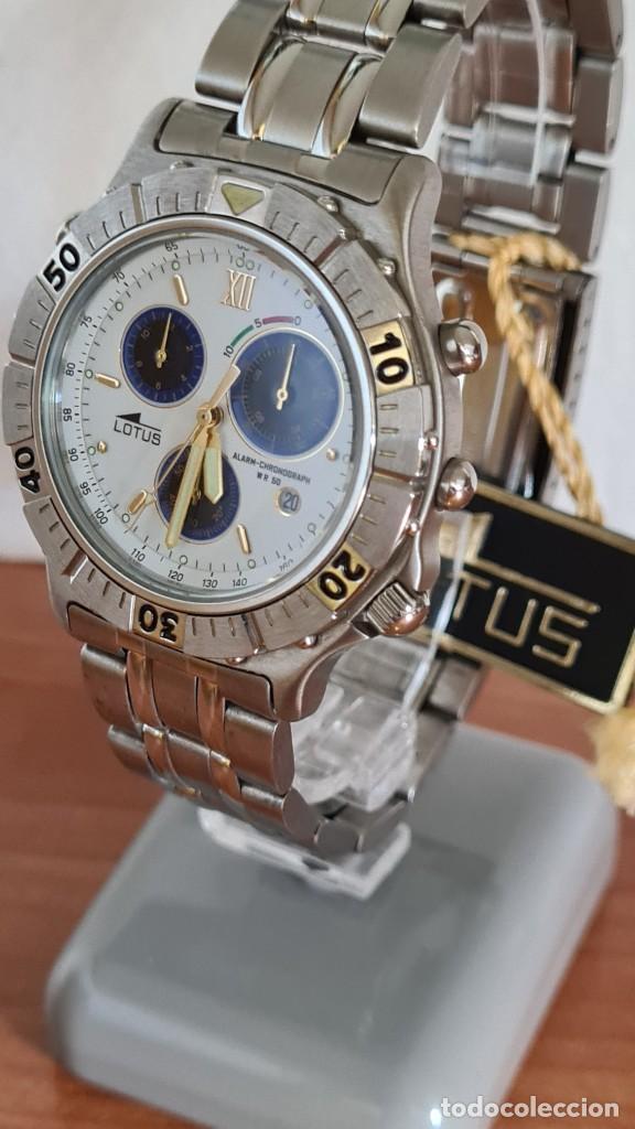 Relojes - Lotus: Reloj caballero LOTUS cuarzo crono, calendario, alarma, fecha la cuatro, correa acero original LOTUS - Foto 2 - 244810425