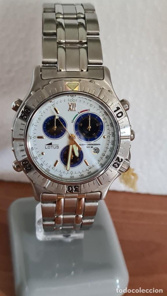 Relojes - Lotus: Reloj caballero LOTUS cuarzo crono, calendario, alarma, fecha la cuatro, correa acero original LOTUS - Foto 3 - 244810425