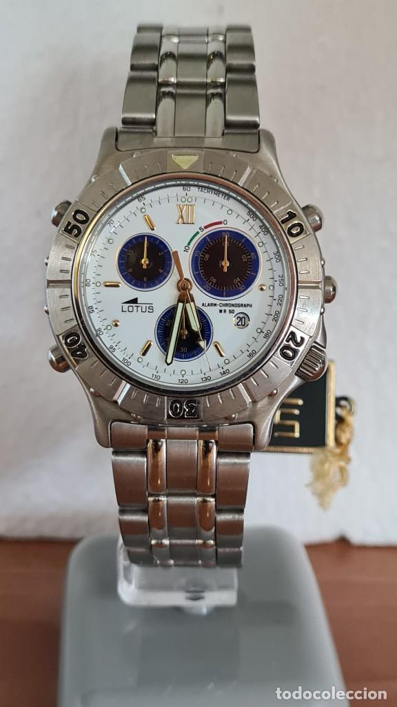 Relojes - Lotus: Reloj caballero LOTUS cuarzo crono, calendario, alarma, fecha la cuatro, correa acero original LOTUS - Foto 11 - 244810425