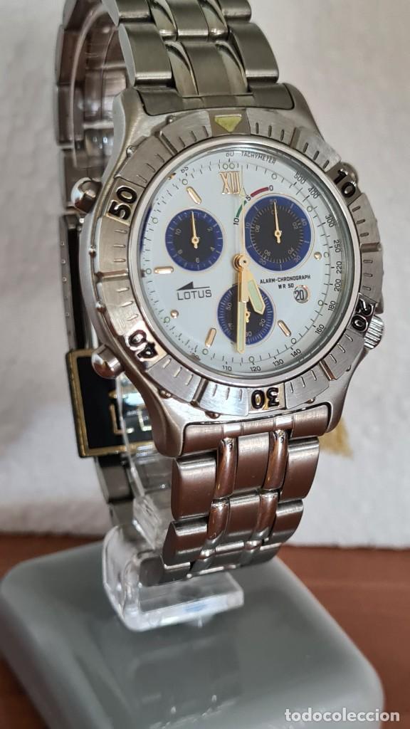 Relojes - Lotus: Reloj caballero LOTUS cuarzo crono, calendario, alarma, fecha la cuatro, correa acero original LOTUS - Foto 13 - 244810425