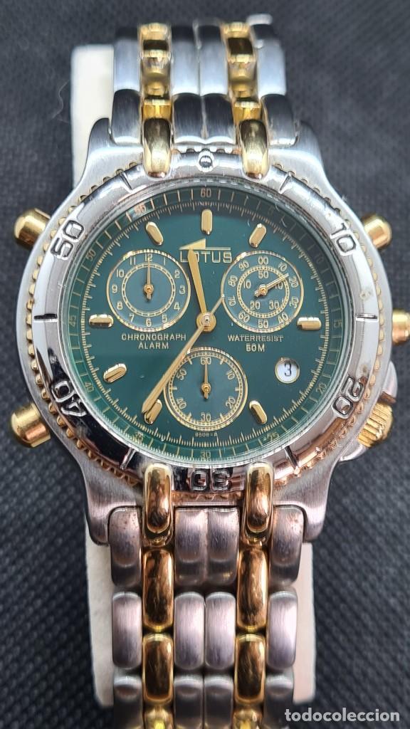 RELOJ CABALLERO LOTUS CUARZO CRONO, CALENDARIO, VARIAS ALARMAS, FECHA, CAJA, CORREA ACERO BICOLOR. (Relojes - Relojes Actuales - Lotus)