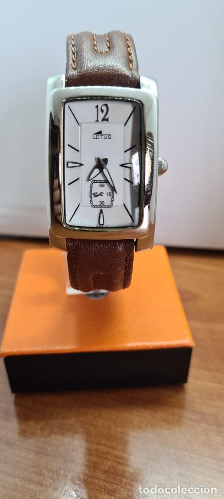 Relojes - Lotus: Reloj unisex cuarzo LOTUS en acero, esfera blanca con segundero a las seis, correa cuero marrón. - Foto 8 - 253554845