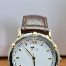 Relojes - Lotus: RELOJ UNISEX CUARZO LOTUS EN ACERO BICOLOR, ESFERA BLANCA, AGUJAS CHAPADAS ORO, CORREA MARRÓN NUEVA.. Lote 253556950