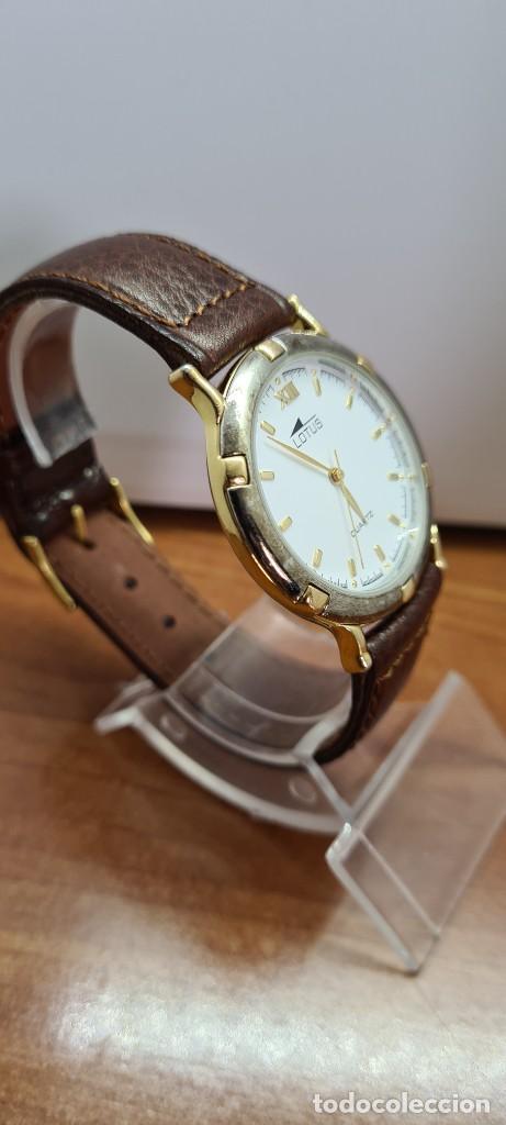 Relojes - Lotus: Reloj unisex cuarzo LOTUS en acero bicolor, esfera blanca, agujas chapadas oro, correa marrón nueva. - Foto 7 - 253556950