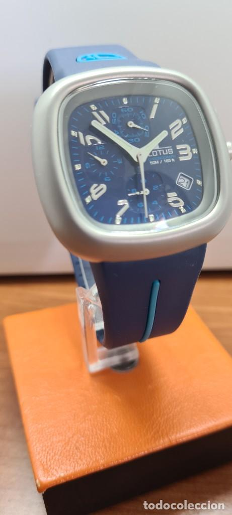 Relojes - Lotus: Reloj caballero acero LOTUS cuarzo crono, esfera azul, calendario las cuatro, correa LOTUS original. - Foto 3 - 253559280