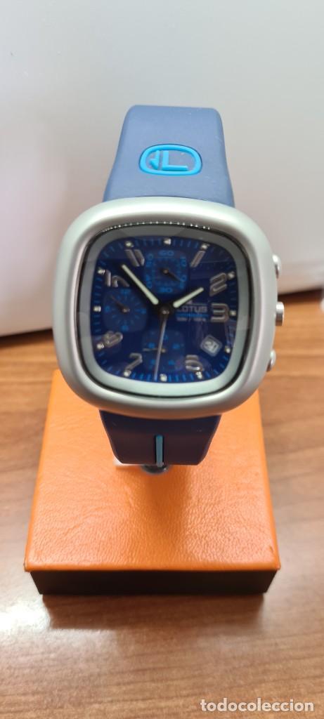 Relojes - Lotus: Reloj caballero acero LOTUS cuarzo crono, esfera azul, calendario las cuatro, correa LOTUS original. - Foto 5 - 253559280