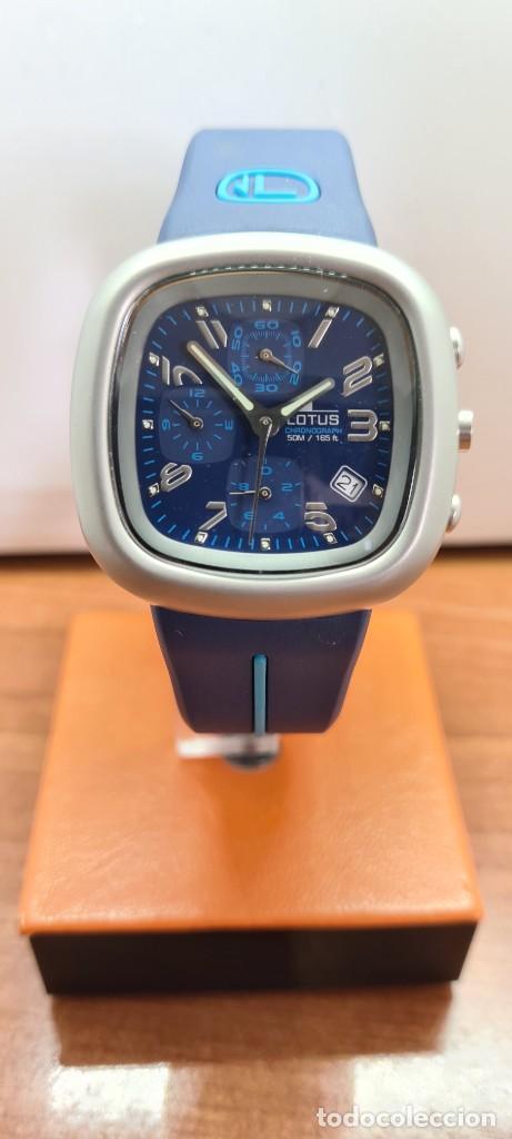 Relojes - Lotus: Reloj caballero acero LOTUS cuarzo crono, esfera azul, calendario las cuatro, correa LOTUS original. - Foto 9 - 253559280