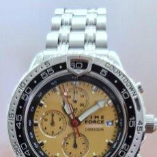 Relojes - Lotus: RELOJ CABALLERO (VINTAGE) TIME FORCE CUARZO CRONOGRAFO, ACERO, CALENDARIO LAS TRES, CORREA ACERO.. Lote 253561595