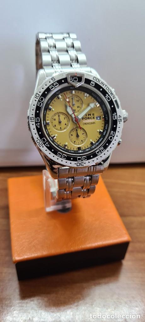 Relojes - Lotus: Reloj caballero (Vintage) TIME FORCE cuarzo cronografo, acero, calendario las tres, correa acero. - Foto 2 - 253561595