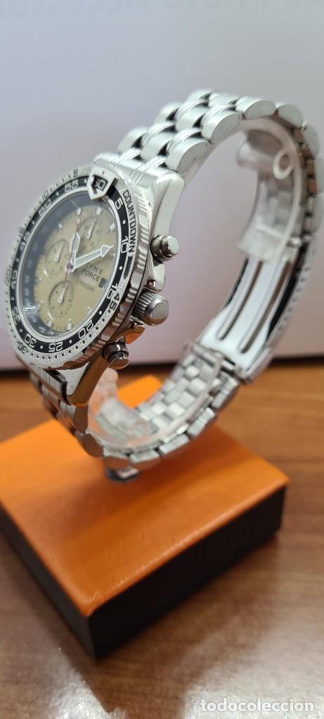 Relojes - Lotus: Reloj caballero (Vintage) TIME FORCE cuarzo cronografo, acero, calendario las tres, correa acero. - Foto 3 - 253561595