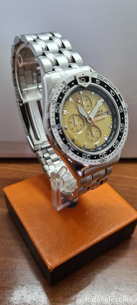 Relojes - Lotus: Reloj caballero (Vintage) TIME FORCE cuarzo cronografo, acero, calendario las tres, correa acero. - Foto 4 - 253561595