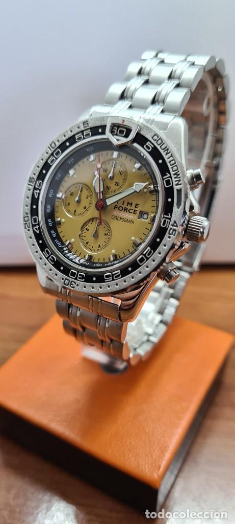 Relojes - Lotus: Reloj caballero (Vintage) TIME FORCE cuarzo cronografo, acero, calendario las tres, correa acero. - Foto 5 - 253561595