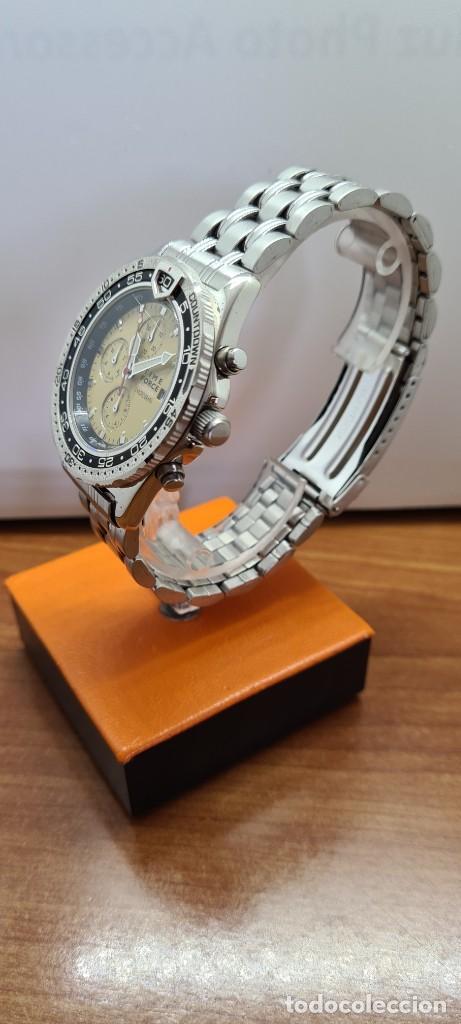 Relojes - Lotus: Reloj caballero (Vintage) TIME FORCE cuarzo cronografo, acero, calendario las tres, correa acero. - Foto 6 - 253561595
