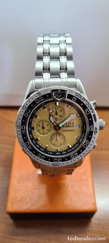 Relojes - Lotus: Reloj caballero (Vintage) TIME FORCE cuarzo cronografo, acero, calendario las tres, correa acero. - Foto 7 - 253561595