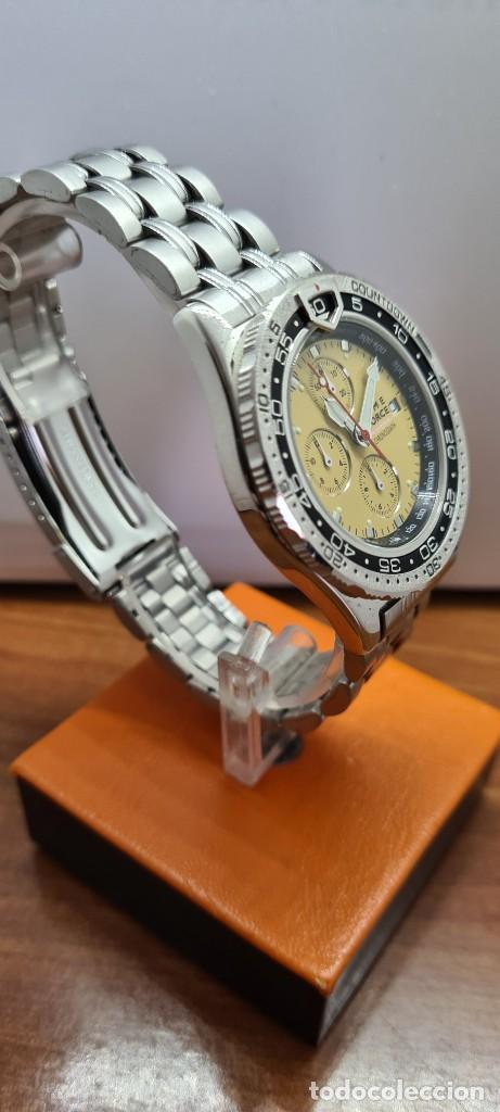 Relojes - Lotus: Reloj caballero (Vintage) TIME FORCE cuarzo cronografo, acero, calendario las tres, correa acero. - Foto 9 - 253561595