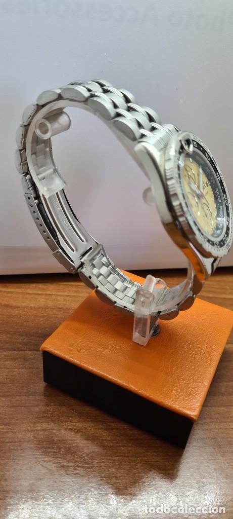 Relojes - Lotus: Reloj caballero (Vintage) TIME FORCE cuarzo cronografo, acero, calendario las tres, correa acero. - Foto 11 - 253561595