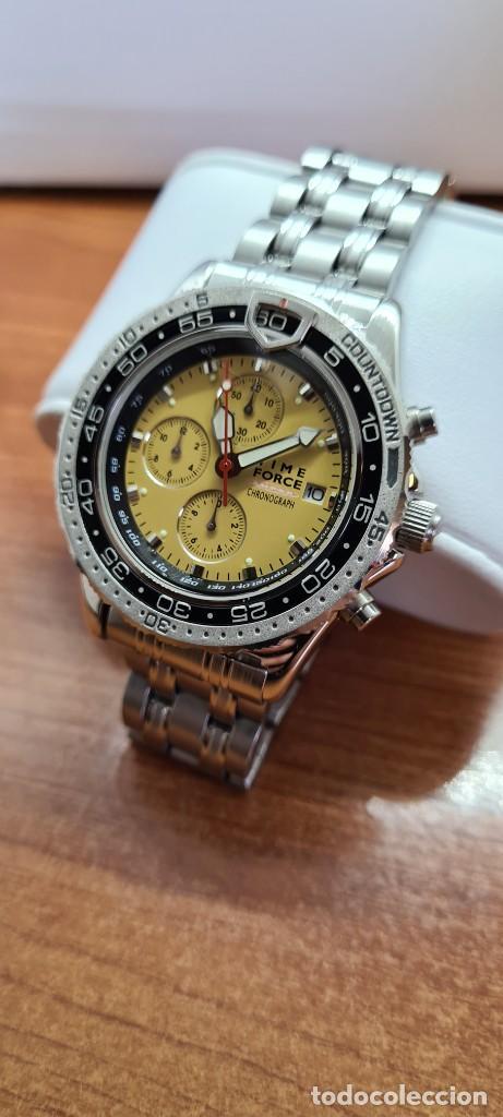 Relojes - Lotus: Reloj caballero (Vintage) TIME FORCE cuarzo cronografo, acero, calendario las tres, correa acero. - Foto 13 - 253561595