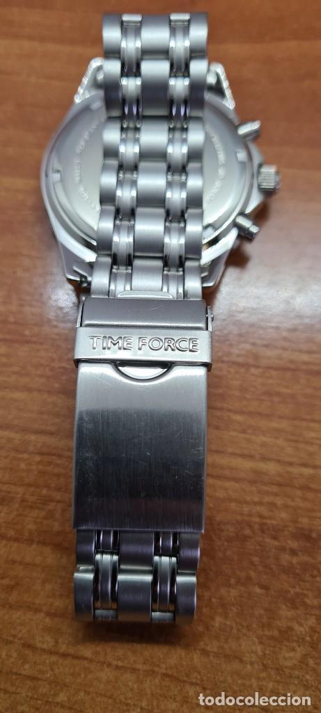 Relojes - Lotus: Reloj caballero (Vintage) TIME FORCE cuarzo cronografo, acero, calendario las tres, correa acero. - Foto 15 - 253561595