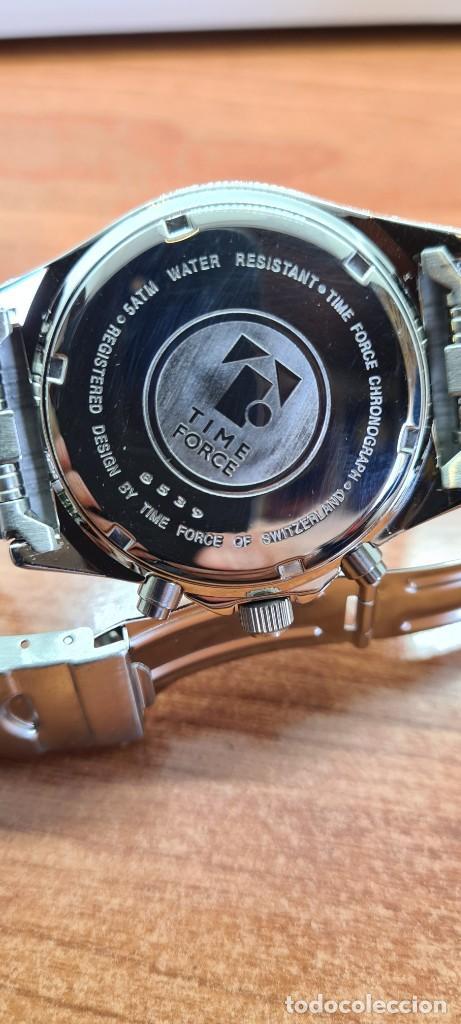 Relojes - Lotus: Reloj caballero (Vintage) TIME FORCE cuarzo cronografo, acero, calendario las tres, correa acero. - Foto 17 - 253561595