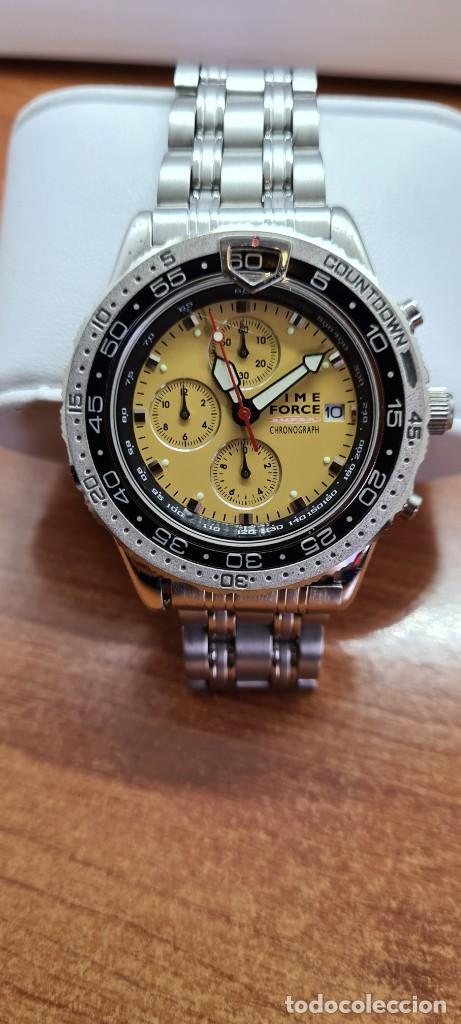 Relojes - Lotus: Reloj caballero (Vintage) TIME FORCE cuarzo cronografo, acero, calendario las tres, correa acero. - Foto 18 - 253561595