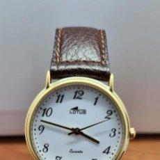 Relojes - Lotus: RELOJ UNISEX CUARZO LOTUS EN ACERO BICOLOR, ESFERA BLANCA, AGUJAS CHAPADAS ORO, CORREA MARRÓN NUEVA.. Lote 253830030