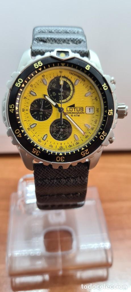 RELOJ CABALLERO LOTUS TITANIO CUARZO CRONOGRAFO, CALENDARIO A LAS TRES, CORREA CUERO ORIGINAL LOTUS (Relojes - Relojes Actuales - Lotus)