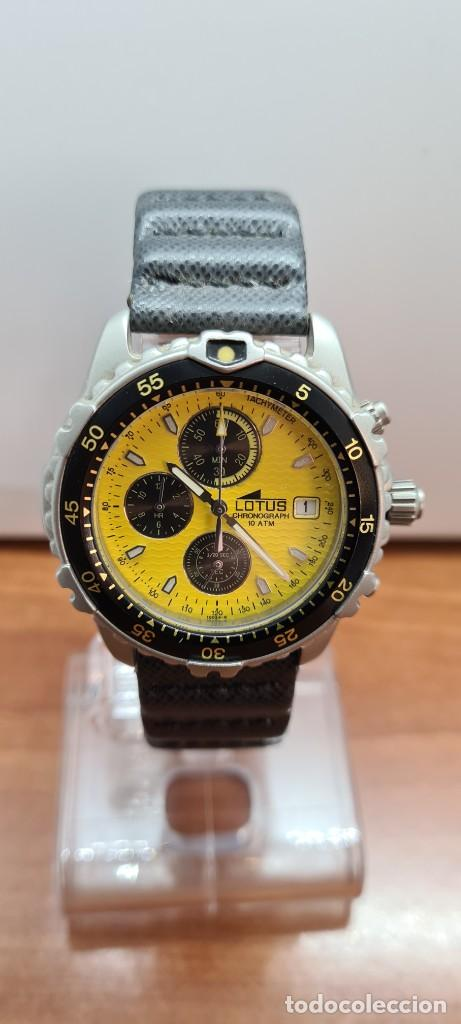 Relojes - Lotus: Reloj caballero LOTUS titanio cuarzo cronografo, calendario a las tres, correa cuero original LOTUS - Foto 9 - 253897540