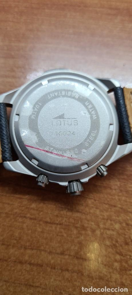 Relojes - Lotus: Reloj caballero LOTUS titanio cuarzo cronografo, calendario a las tres, correa cuero original LOTUS - Foto 10 - 253897540