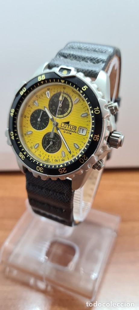 Relojes - Lotus: Reloj caballero LOTUS titanio cuarzo cronografo, calendario a las tres, correa cuero original LOTUS - Foto 11 - 253897540