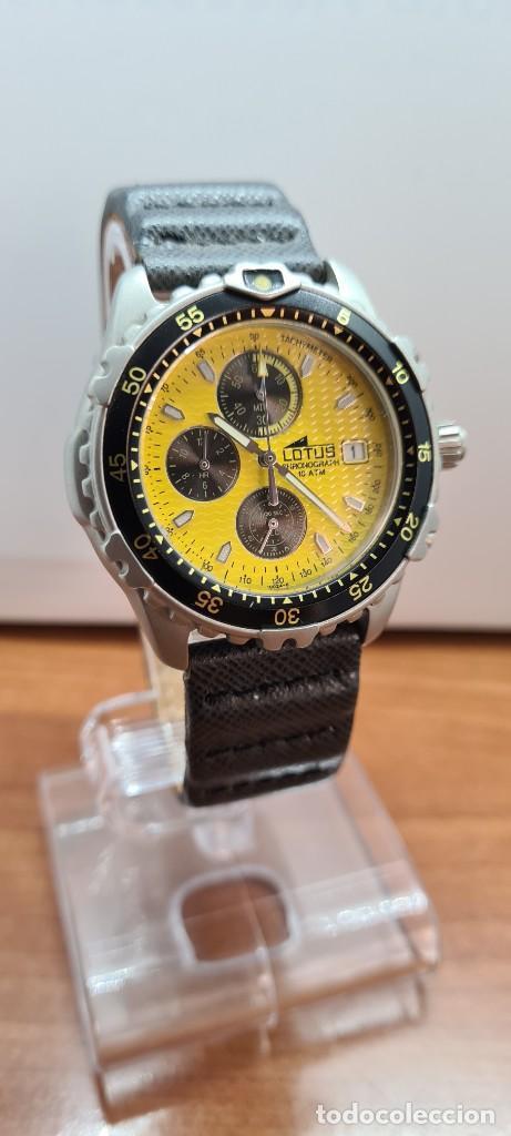 Relojes - Lotus: Reloj caballero LOTUS titanio cuarzo cronografo, calendario a las tres, correa cuero original LOTUS - Foto 12 - 253897540