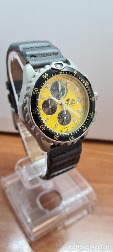 Relojes - Lotus: Reloj caballero LOTUS titanio cuarzo cronografo, calendario a las tres, correa cuero original LOTUS - Foto 13 - 253897540
