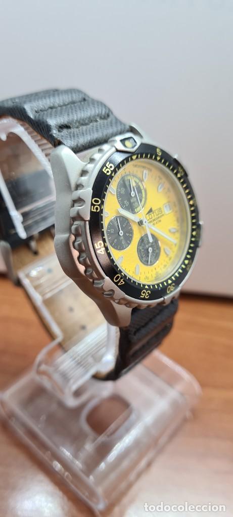 Relojes - Lotus: Reloj caballero LOTUS titanio cuarzo cronografo, calendario a las tres, correa cuero original LOTUS - Foto 17 - 253897540