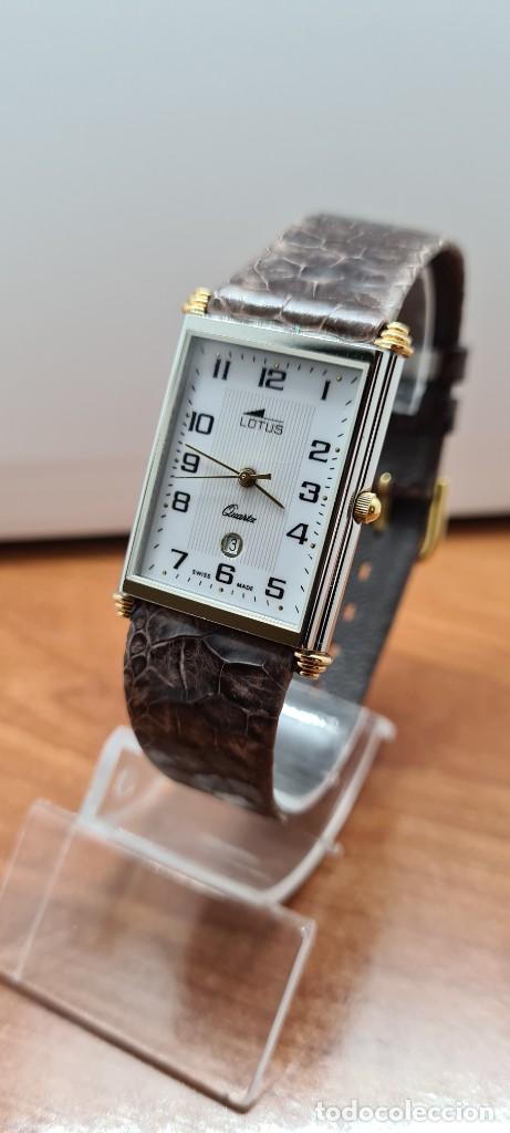 Relojes - Lotus: Reloj unisex cuarzo LOTUS en acero bicolor, esfera blanca, agujas chapadas oro, correa marrón LOTUS - Foto 2 - 255417085